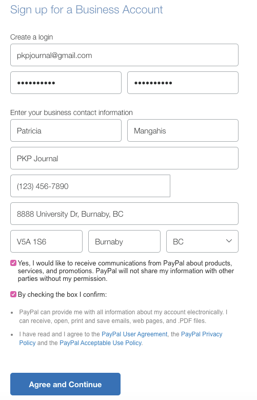 The PayPal business account registration screen filled in with sample login and business contact information.