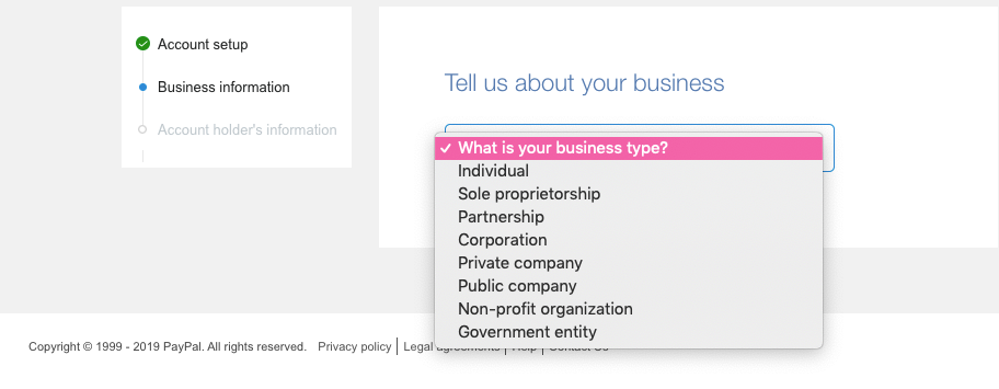 PayPal's dropdown list of business types.