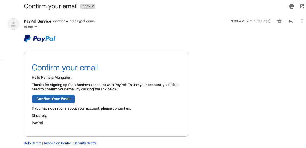 A verification email from PayPal including a link to confirm the registered email account.