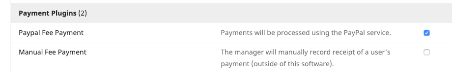 The Paypal Fee Payment plugin enabled in the OJS Plugin Gallery.