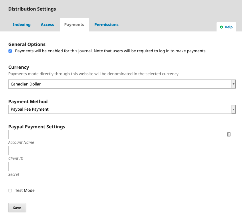 "The Payments tab under Distribution Settings in OJS, with ""Paypal Fee Payment"" selected under payment method."