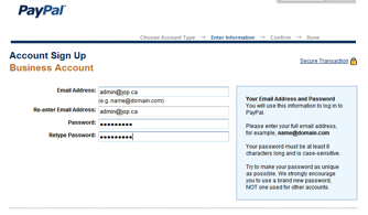 Set up a real Paypal account